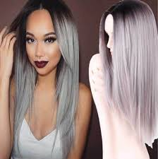 gray hair pieces for american straight long grey hair silver hair wigs for black women lace