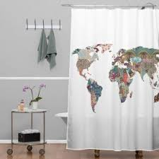 Shower Curtain World Map Extra Long Shower Curtain Visualizeus
