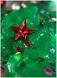 christmas tree homemade slime science activity for kids decorated