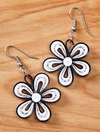 handmade paper earrings quilled flower earrings handmade paper jewelry