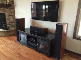 premium home theater system with wall mounted flat panel tv and