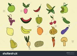 hand drawn color fruit vegetable set stock vector 350606642