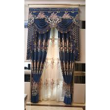 blue floral jacquard chenille luxury thermal valance curtains