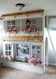 Playhouse Bunk Bed Play Loft Bed Baby Accessories Custom Dollhouse Cottage Loft Bed