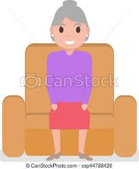 Cartoon Armchair Vector Illustration Of Vector Cartoon Grandmother Sitting In A