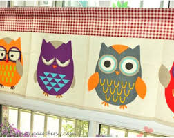 Owl Kitchen Curtains by Bathroom Curtains Etsy