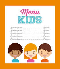 design template for kids menu with funny cook boy clip art vector