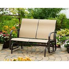 Patio Furniture From Walmart by Mainstays Square Tile Sling Glider Bench Seats 2 Walmart Com