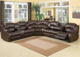 living room leather sectional sofa with chaise and recliner