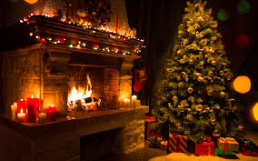 photos new year christmas tree fire present fireplace 3840x2400