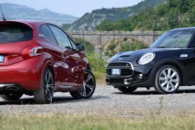 peugeot mini car peugeot 208 gti vs mini cooper s 2014 youtube