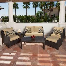 Patio Chairs With Cushions Rst Brands Deco 6 Piece Patio Seating Set With Delano Beige