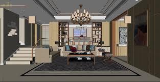 3d model modern family living room restaurant design