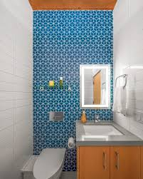 Powder Room Towels - silestone blue powder room midcentury with feature wall solid