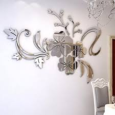 mirror decals home decor amazon com rumas 3d mirror floral art removable wall sticker