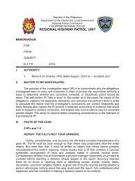 sample report format revised format traffic accident inves report form 1 revised format traffic accident inves report form 1 memorandum evidence