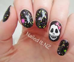 nailed it nz girly skull nail art star kin nail polish