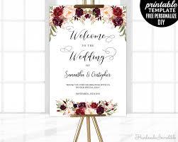 wedding poster template marsala wedding welcome poster template printable floral welcome