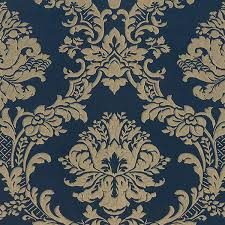 classic damask navy gold md29470 contemporary wallpaper by