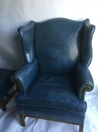 Blue Leather Chair Denim Blue Leather Club Chair Wingback Chair And Ottoman For Sale