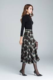 Wool Skirts For Winter Plaid Skirtgrid Skirt Wool Skirt Winter Skirt Pleated By Xiaolizi