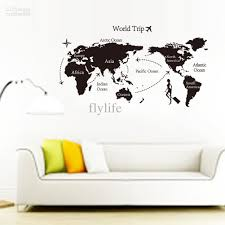 Wall Map Murals Large Black World Map Wall Decals And Decor Stickers For Living