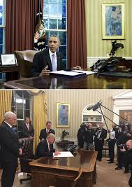 gold curtains in the oval office pics donald trump s oval office makeover it s all decorated in