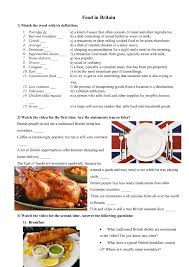 worksheet food in britain