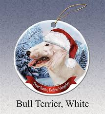 bull terrier white ornament made in the usa