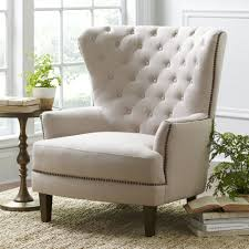 home interior beige contemporary reading chair wing back chair