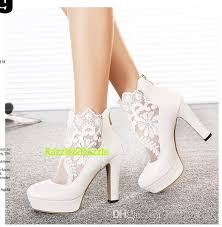 wedding shoes chunky heel 2015 new arrival white lace bridal shoes hollow chunky heels high
