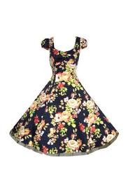 navy blue floral vintage 50s swing prom pin up tea dress pretty