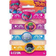 party favor bracelets trolls rubber bracelet party favors 4ct walmart