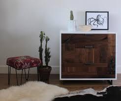 patchwork walnut dresser nightstand in white lacquer case