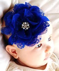 blue headband royal blue chiffon lace flower headband with swarovski