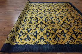 art deco oriental gold u0026 navy blue 9 x 13 area rug h7538