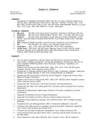 Database Administrator Resume James A Ashmore Tsm Dba Resume