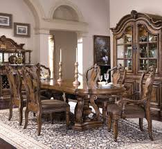 seven piece double pedestal oval top dining table and chair set