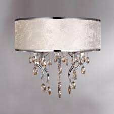 Crystal Drum Shade Chandelier Romantic White Flannel Drum Shade Flush Mount Light Chandelier