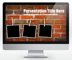 brick wall powerpoint template with photo placeholders is a free