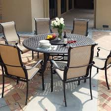 darlee monterey 8 piece sling patio dining set with lazy susan