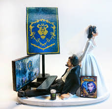 wow alliance funny gamer wedding cake topper bride and groom by