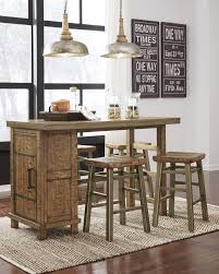dondie warm brown rect counter table w storage u0026 4 stools