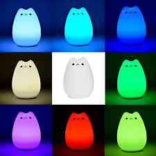 usb cat night light colorful 7 colors cat children animal led night light silicone soft
