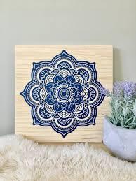 wood wall art mandala painting navy blue mandala blue mandala