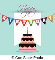 clipart vector of happy birthday cake card 13 thirteen year party