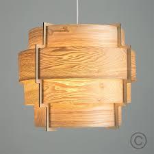 Wood Veneer Pendant Light Modern Designer Retro Wood Veneer Stepped Drum