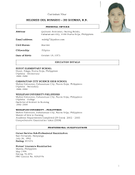 sle resume for college students philippines resume sle in the philippines europe tripsleep co