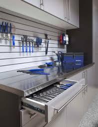custom garage cabinets drawers storage organization stainless workbench open drawer gray slatwall feb