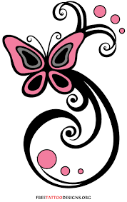 swirly pink tribal butterfly design sle tattoomagz